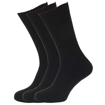 Mens Wool Blend Socks with Wool Padded Sole (Pack Of 3) (UK Shoe 6-11, EUR 39-45) (Black)