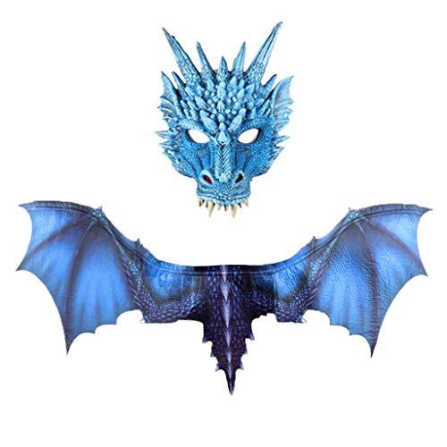Mit Kostüm Flügeln Kind Bösen - YWLINK Halloween Dragon Maske Und FlüGel Sets, Horror Dinosaurier Cosplay Prop für Damen & Herren(Blau,30x21cm,95x45cm)