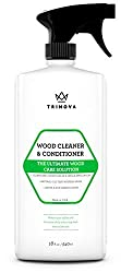 Wood Cleaner, Conditioner & Polisher - For Hardwood Floors, Furniture & Cabinets - Removes Stains & Restores Shine - Natural Wax & Oils - Works on Stained & Unfinished Surfaces - 18 OZ - TriNova