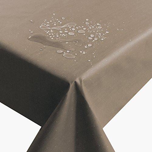 Meterware Farbe , Breite & Länge wählbar - Baumwollstoff mit Punkten TEFLON Braun ECKIG 110 x 170 bzw. 170x110 cm Tischdecke