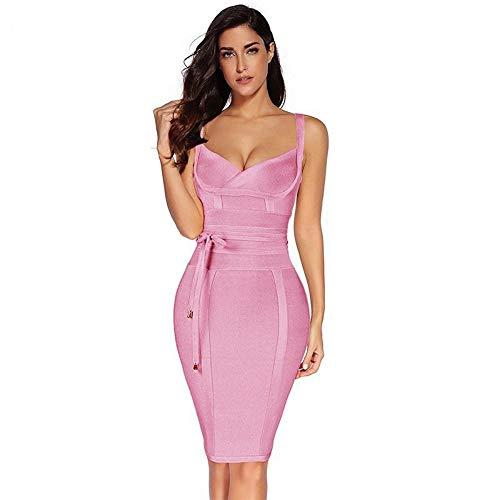 WDJYNL Kleid Kleid Damen Sommer Bandage Kleid Spaghetti Dress Der Spandex Frauen Abendkleid, S Bandage Kleid