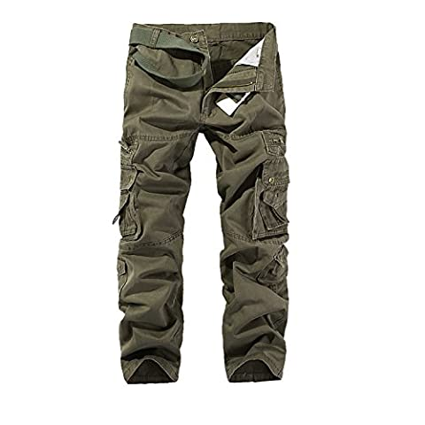 AYG Homme Cargo Pantalon Militaire Cargo Pants Trousers(Soil army green,38)