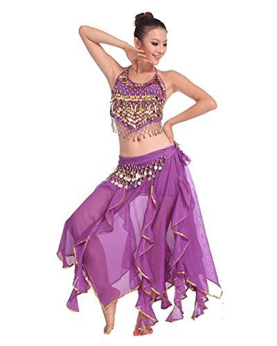 Grouptap Bollywood Violett lila asiatischen indischen arabischen Jasmin Bauchtanz Kleid Kostüm 2-teilige Neckholder Top Rock Phantasie sexy Frauen Outfit (Violett, 150-175 cm, 40-70 kg) (Asiatische Indische Prinzessin Kostüm)