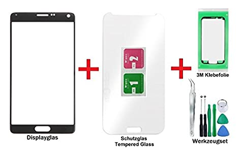 iTG® Displayglas Reparatur-Set für Samsung Galaxy Note 4 in Schwarz (Charcoal Black) - Front Display Glas für Modell N910 N9100 N9105 LTE mit Tempered Glass Displayschutz, 8-Stück Werkzeug-Set und vorgeschnittene 3M