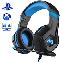 Mpow EG9 Stereo Cuffie Gaming PC con Fantastica RGB Luce,Cuffie Gaming PS4 OverEar con Comodo Ccuscino e led spia Microfono Flessibile,Audio Cavo 3.5mm e comando,Compatibilità:PS4/PC/Xbox/NS/Cellulare