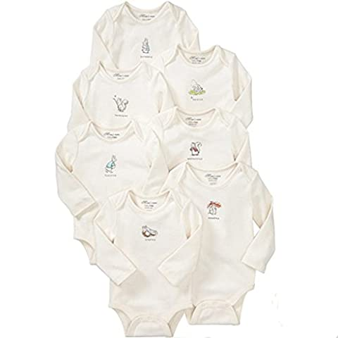 7-Pack Baby Bodysuits Weekly Babygrow Long Sleeve Cotton Onesies Gift Set, 12-18 Months