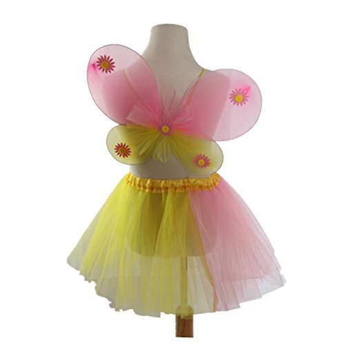 LUOEM Mädchen Fee Kostüme Set Engel Prinzessin Fairy Dress Outfit Cosplay Partei Kostüme mit Schmetterlingsflügel Stab Stirnband (Engel Prinzessin Kostüm)