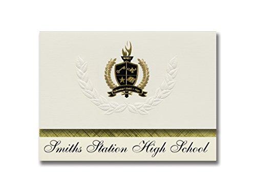 Signature-Announcements Smiths Station High School (Smiths Station AL) Abschlussankündigungen, Präsidential-Stil, Grundpaket mit 25 goldfarbenen und schwarzen metallischen Folienversiegelungen Pac-station
