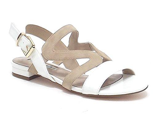 Barachini scarpe donna, modello 4004, sandalo in vernice e camoscio, colore latte naturale