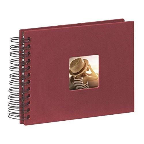 Hama Fotoalbum Fine Art, 50 schwarze Seiten, 25 Blatt, Spiralalbum 24 x 17 cm, mit Ausschnitt für Bildeinschub, bordeaux