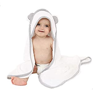 Organic Bamboo Hooded Baby Towel - Soft, Hooded Bath Towels for Baby and Toddlers - Hypoallergenic, Large Baby Towel Perfect Baby Shower Gift for Boys and Girls