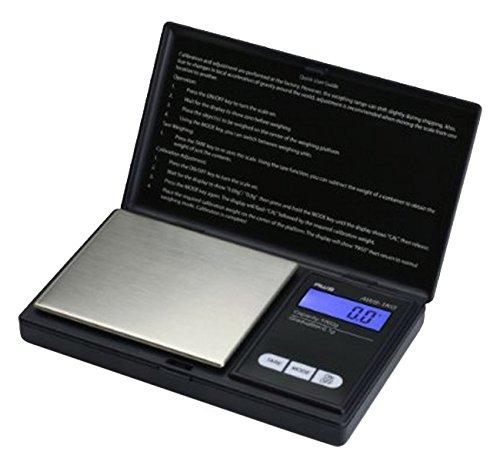 """'(500g/0,01g Ventajas del producto Carga: max 500g genaugkeit: hasta 0,01g Unidades de medida: g (gram), onzas (oz), ozt (oz) disponibles, ct (quilates), GN (grains) compacto, ocupa poco espacio operativo de batería: 2x pilas AAA """"función de tar..."""