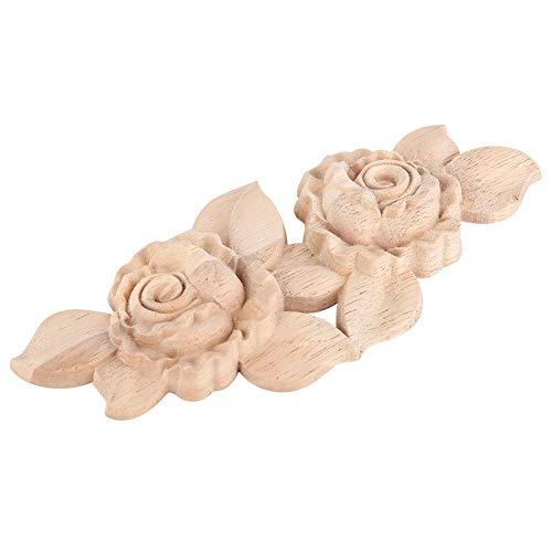 Holz Applique Geschnitzte Ecke Onlay Europäischen Stil Türschrank Rose Blume Unlackiert Skulpturen für Hauptwanddekor 1 stück -