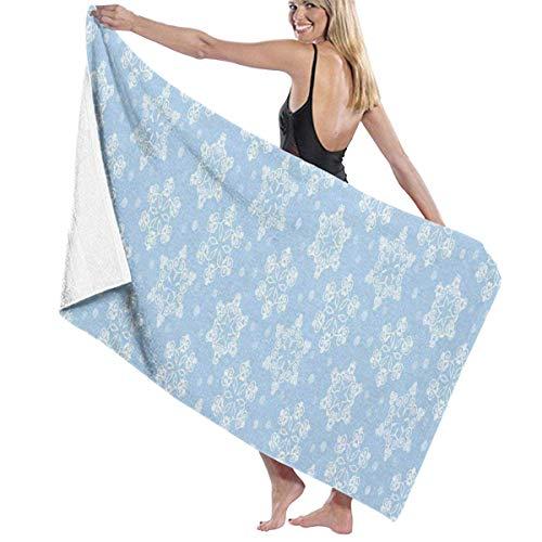 xcvgcxcvasda Serviette de bain, Winter White Snowflake Personalized Custom Women Men Quick Dry Lightweight Beach & Bath Blanket Great for Beach Trips, Pool, Swimming and Camping 31