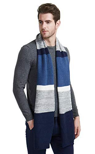 EINSKEY Schal Herren Winter Wolle Strickschal Grau Blau Warm Weicher Business Herrenschals