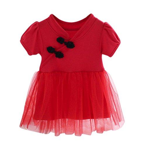 SUCES Baby Mädchen Kleid Baby Mädchen lange Ärmel stricken Bow Net Garn Kleid Tutu Prinzessin Kleid Infant Baby Kinder Mädchen Party Spitze Tutu Prinzessin Kleid Kleidung Outfits (6M, Red) (Plus Stricken Größe Pants)