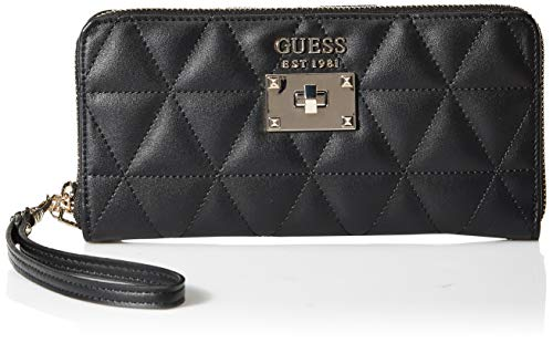 Guess laiken slg large zip around, portafoglio donna, nero (black), 2x10x21 cm (w x h x l)