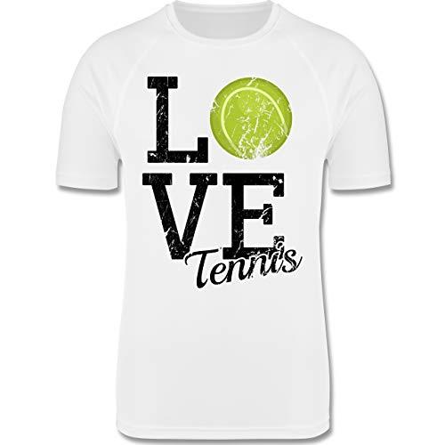 Sport Kind - Love Tennis - 116 (5-6 Jahre) - Weiß - F350K - atmungsaktives Laufshirt/Funktionsshirt für Mädchen und Jungen