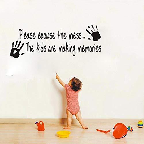 Kind handabdrücke vinyl wandtattoo zitate kinderzimmer schlafzimmer dekor diy kunst wandbild entfernbare wandaufkleber 42 * 114 cm