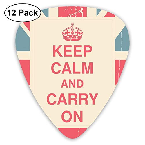 Guitar Picks - Abstract Art Colorful Designs,Keep Calm And Carry On Text Against The British Flag With Aged Look,Unique Guitar Gift,For Bass Electric & Acoustic Guitars-12 Pack (Elf Halloween Look)