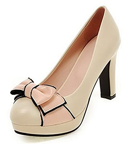 AgooLar Women's Soft Material Pull-On Round Closed Toe High-Heels Assorted Color Pumps-Shoes, Beige,