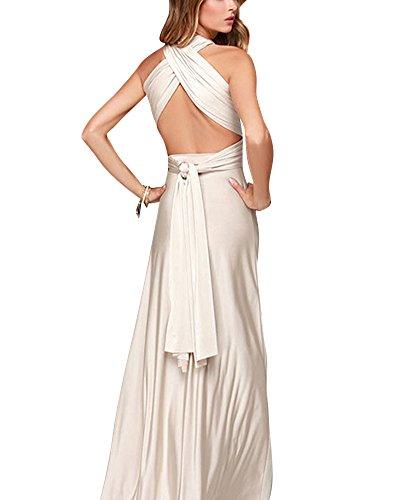 Damen Bodenlanges Kleid Tailliertes Maxikleid V-Ausschnitt Ärmellos Abendkleid Beige