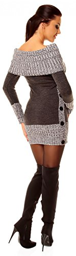 Zeta Ville - Robe pull en maille encolure Bardot manches longues - femme - 913z Graphite