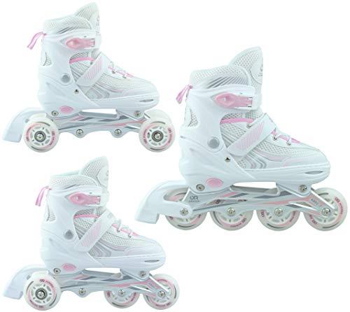 Croxer 3in1 Inline Skates Inliner Triskates Rollschuhe Optima White/Pink verstellbar (39-42(24cm-26,5cm))