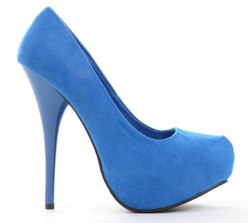 Funky Fourever da donna in camoscio sintetico con plateau, tacco a pompa Blu (blu)