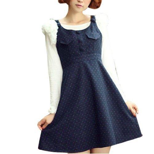 Lady Rose à pois Sans manche Preppie Robe bleu foncé XS Bleu