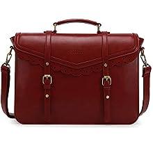 ECOSUSI Aktentasche Damen Laptoptasche 15,6 Zoll Elegant Umhängetasche mit Lace Vintage Schultasche, Weinrot
