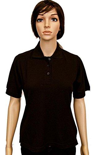 Polo da donna a maniche corte, stile casual, t-shirt da sport o lavoro Nero - Nero
