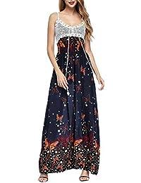 Vestito Bretelle Donna Boho Hippie Chic Abito Impero Lungo Cerimonia Vestito  Fantasia Floreale Vintage Swing Abiti ee55c1c999c