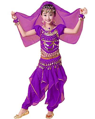 Lishui Kinder Mädchen Bauchtanz Outfit Kostüm Indien Dance Kleidung Dunkelviolett L - 80's Dance Mädchen Kostüm