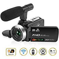 Camcorder Camera Video Camera HD 1080P 30FPS 24.0MP 3'' LCD Touch Screen Night Vision Camcorder with Microphone Microphone and Remote Control