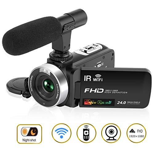 Videokamera Camcorder HD 1080P 30FPS 24.0MP 3 '' LCD Touchscreen Nachtsicht videokamera mit Mikrofon und Fernbedienung