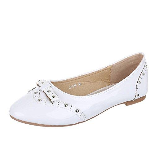 Kinder Schuhe, Z-619, BALLERINAS, HALBSCHUHE MIT NIETEN, Synthetik in hochwertiger Lacklederoptik , Weiß, Gr 29