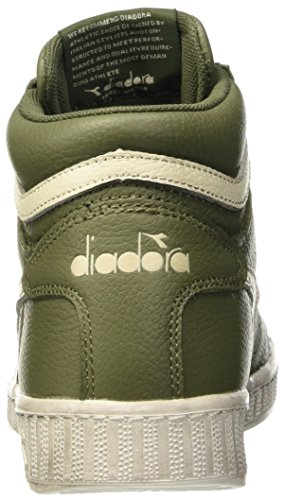 Diadora Game L High Waxed, Pompes à plateforme plate mixte adulte Verde (Verde Olivina/Bianco Sospiro)