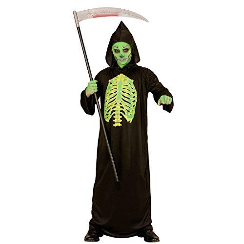 NET TOYS Halloween Kinderkostüm Sensenmann Horror Kostüm 128, 5 - 7 Jahre Leuchtendes Skelett Outfit Gerippe Grim Reaper Toxic