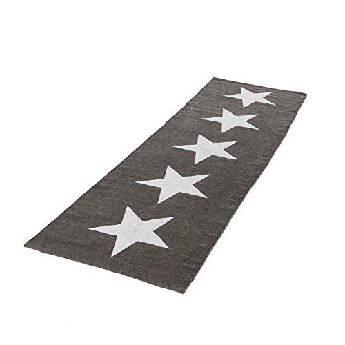 Teppich Big Stars Läufer Sterne Baumwolle Grau Weiß 70 x 240 cm