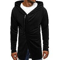 Oyamihin Winter Men's Hooded Coat Casual Male Coat Cardigan Fashion Slanted Zipper Long Sleeve Letter Printing Cardigan - Black M