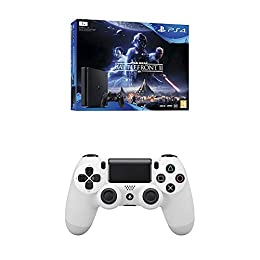 PlayStation 4 (PS4) - Consola 1 TB + Star Wars Battlefront + Dualshock 4 V2 Mando Inalámbrico, Color Blanco V2 (PS4)