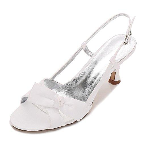 Elegant high shoes L@YC Frauen Peep Toe E17061-19 Bänder Satin Low Heels Brautjungfer Hochzeit Braut Court Schuhe, Ivory, 37 (Gelb Brautjungfer Schuhe)