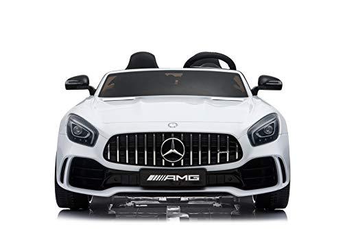 "Kinderfahrzeug - Elektro Auto ""Mercedes GT R Doppelsitzer"" - lizenziert - 12V10AH, 2 Motoren- 2,4Ghz Fernsteuerung, MP3, Ledersitz+EVA-Weiss"