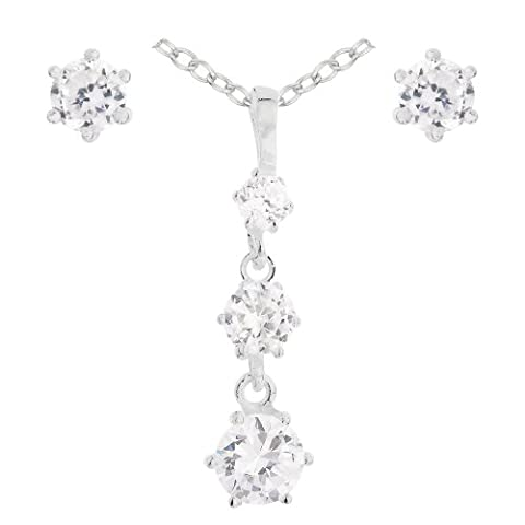 Jewellery Set with 925 Sterling Silver 3 Stone Drop Cubic Zirconia Pendant, Earring and Chain of
