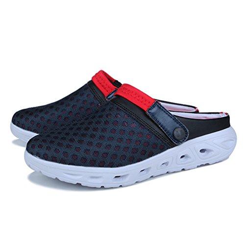 YOUJIA Unisex Atmungsaktiv Leicht Mesh Pantoffeln Clogs Sommer Garten Strand Schuhe Sandalen #3 Blau Rot