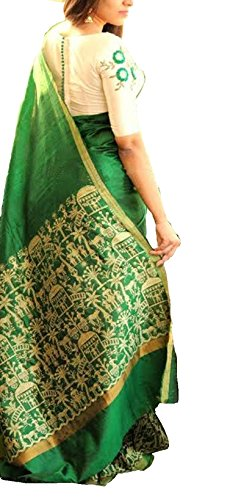 Indian Beauty Women'S Cotton Silk Saree (Yu-09877_Green)