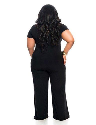 GSP-Combinaisons Aux femmes Manches Courtes Sexy / Grandes Tailles Polyester / Spandex Fin Micro-élastique black-l