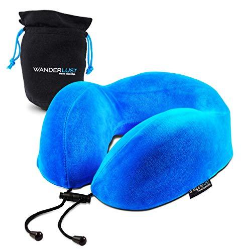 Wanderlust Travel Essentials U-Shaped Memory Foam Blue Travel Neck Pillow with Carry Bag