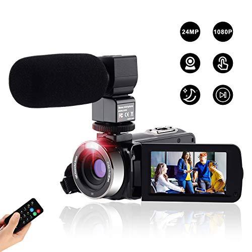 videocamera digitale full hd fotocamera compatta 1080p 24m,fambrow macchina fotografica zoom digitale16x visione notturna ir webcam camcorder con telecomando e microfono touchscreen da 3.0